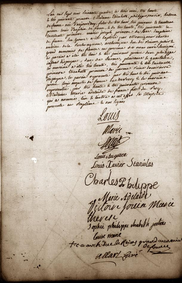 Acte de baptême AD 78, paroisse N-D de Versailles, année 1764, p.34